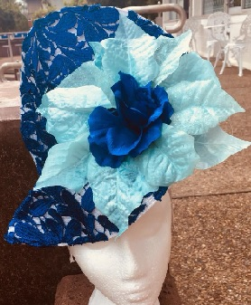 Blue Lace Mint Flower Fascinator sold