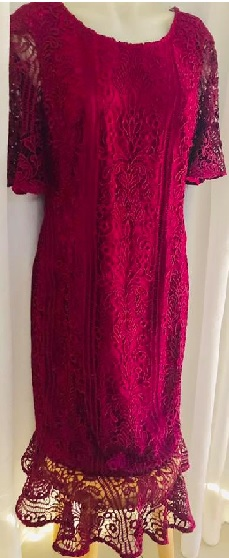 Lace Frill Dress Burgandy S16  Navy S12,14,16,18