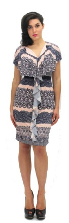 Frill Feature Dress Lace Print S10,18 Navy S12,14,16