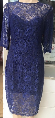 Navy Lace 3 Qrt Sleeve S12,14