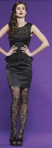 Formal Black Lace Peplum Dress S14