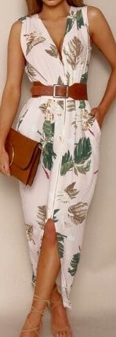 Leaf Print front zip midi S6 (knee length version)