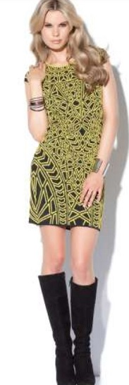 Green print BodyCon Dress S10,14