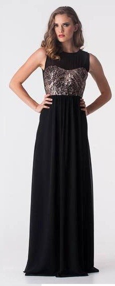 Sequin Sheer Chiffon Gown Black S10,14