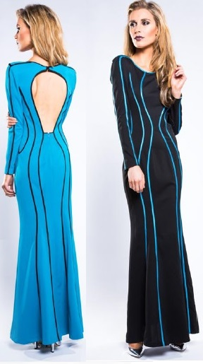 Black Long Sleeve with Blue Trim Maxi S10,12,16