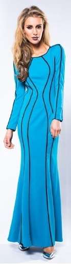 Blue Long Sleeve with Black Trim Maxi S14