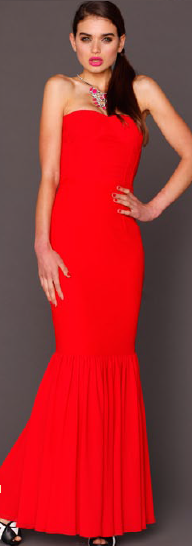Red Strapless Gown S12