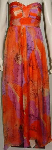 Orange print Silk Maxi Dress S12,14