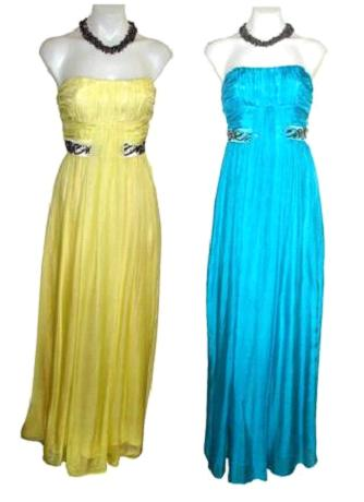 100% Silk with Beading Elegant Gowns Teal S6/8 blue only