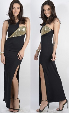 Gold Sequin Black Split Maxi S8, 10/12 (knee length version only)