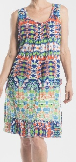 Multi Print No Sleeves Cotton Dress S10