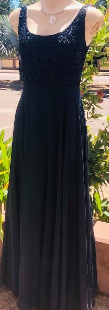 Navy Beaded Chiffon Gown S8