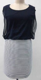Navy Chiffon Striped Dress S10,12