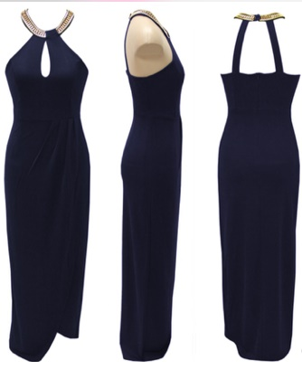 Navy Fitted Beaded Neckline Dress S10