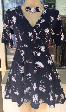 Navy Floral Flare Dress S8,10,12