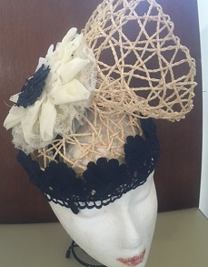 Navy Lace on Straw sold