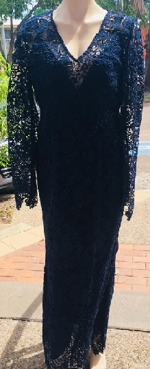Navy Long Sleeved Lace Gown S12