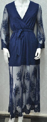 Sleeved Lace Navy Gown S8