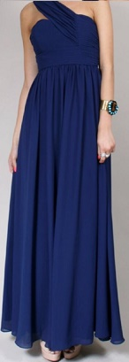 One Shoulder Chiffon Flowy Gown Navy S12
