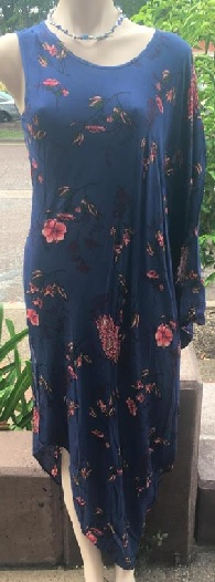 Navy Floral Print One Shoulder Midi S8/10, 10/12, 12/14, 14/16
