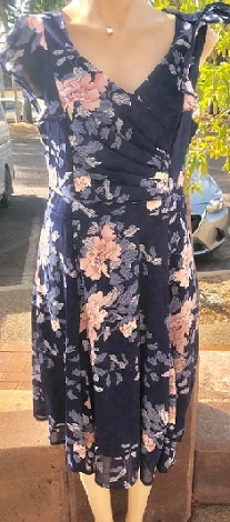 Navy Pink Floral Flowy Dress S8
