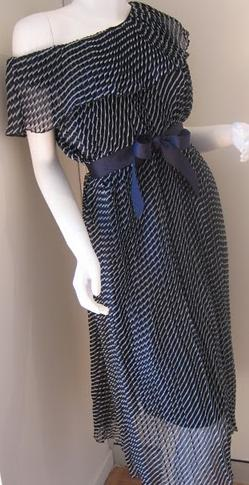 Blue Pleated Dress Fits One size fits most