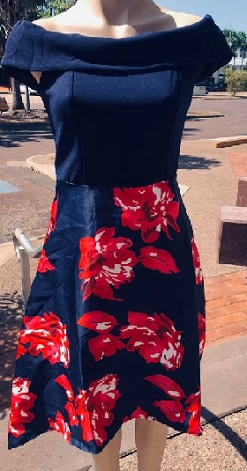 Navy Red Floral Off Shoulder S8,10,14,16