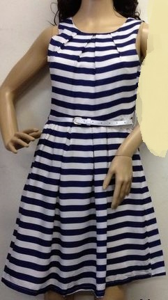 Navy Stripe Dress Cotton lined S8  Black 8