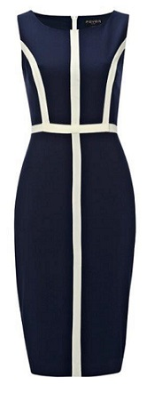 Navy Pencil dress with vanilla stripes S14