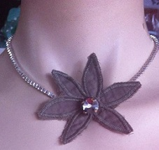 Grey Flower Necklace $15