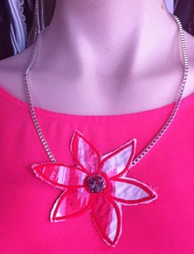 Pink Flower Necklace $15