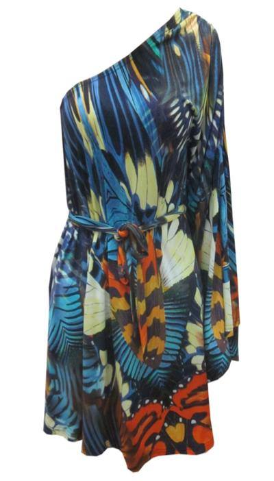 One Shoulder Jersey Blue Purple Butterfly Print Dress S10/12