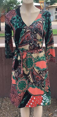 Orange Green Long Sleeves Wrap Dress S10,16