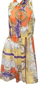 Orange print dress with collar & buttons S10,12