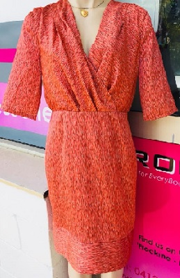 Orange Print Soft Satin Sleeved Dress S10