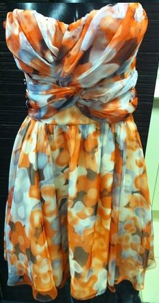 Orange Print Race Dress S8