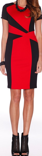 Red Black Panel Dress S10,12,16