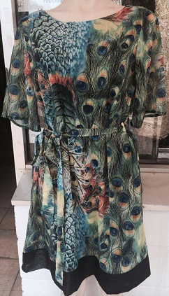 Peacock Print Chiffon Dress S10