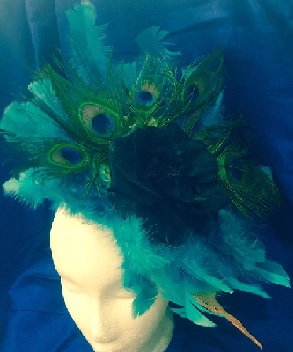 Blue Feather with Peacock Facinator $89