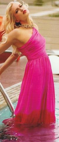 One Shoulder EnRose Sweet Maxi Dress Pink S12