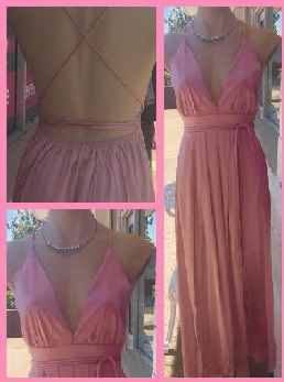 Pink Satin Feel Low Back Maxi S8