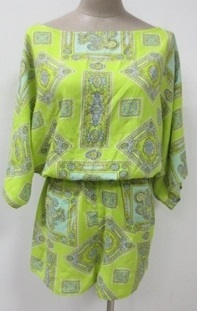 Green Print Cotton Playsuit with short sleeves S8,10