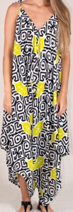 Jumpsuit Lime Black Print Cotton S14
