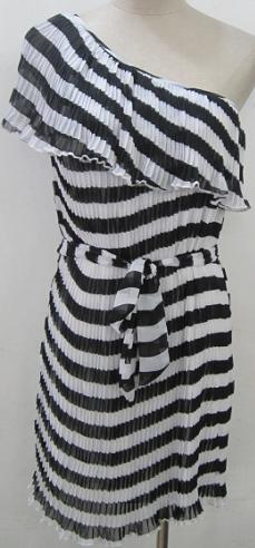 One Shoulder Pleated Blk & White Stripe Dress S8.10,12