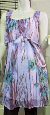 Purple Print Floaty Dress S8,10,12