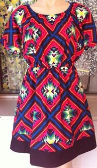 Print Dress with Black Hem S8,10,12/14