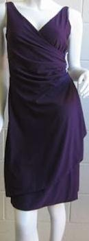 Jersey Ruched Knee LengthDress Purple S10 Long S8,10,12   Black Long S8,12
