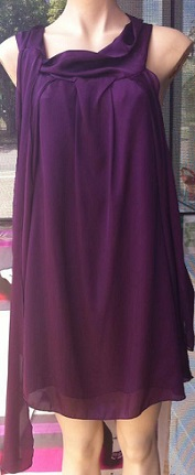 Purple Cowl Neck Short Dress / Tunic S8,10,12/14