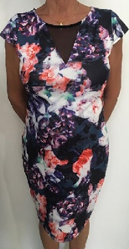 Purple Floral Body Con Dress S10,12,16