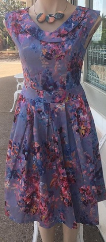 Purple Floral Print with Pockets Dress S8